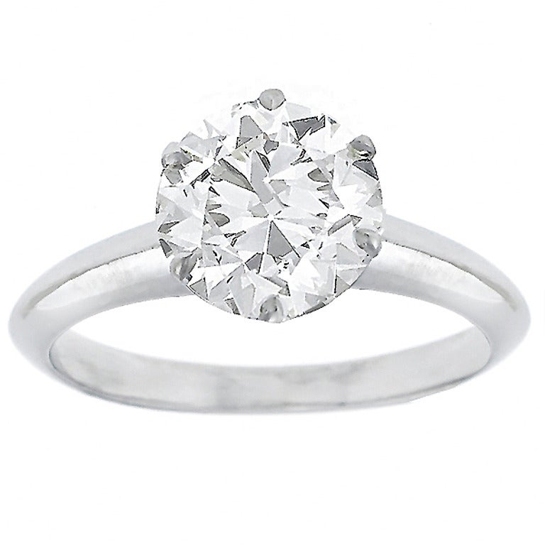 Tiffany & Co. 1.52 Carat Diamond Platinum Engagement Ring For Sale