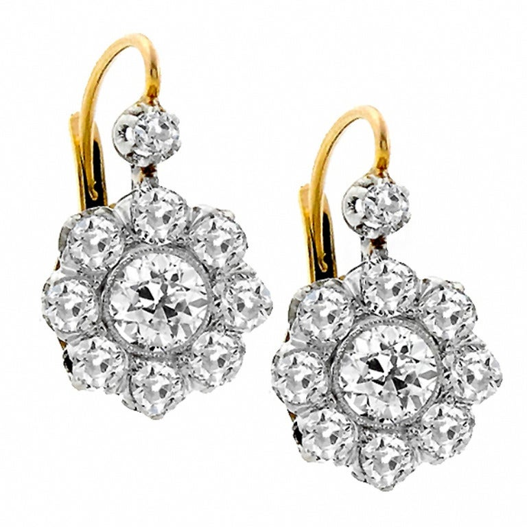 Antique Diamond Platinum Gold Earrings At 1stdibs