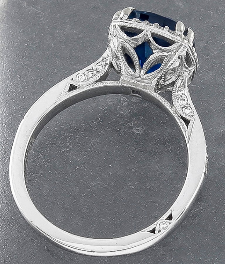 Tacori 3.87 Carat Sapphire Diamond White Gold Engagement Ring In New Condition For Sale In New York, NY