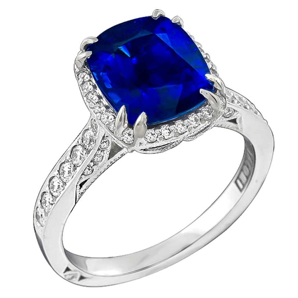 Tacori 3.87 Carat Sapphire Diamond White Gold Engagement Ring For Sale