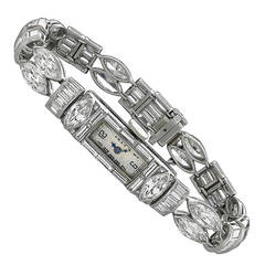 Ladies Platinum Diamond Bracelet Wristwatch