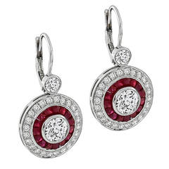 GIA Cert 2.12 Carat Diamond Ruby Gold Target Earrings