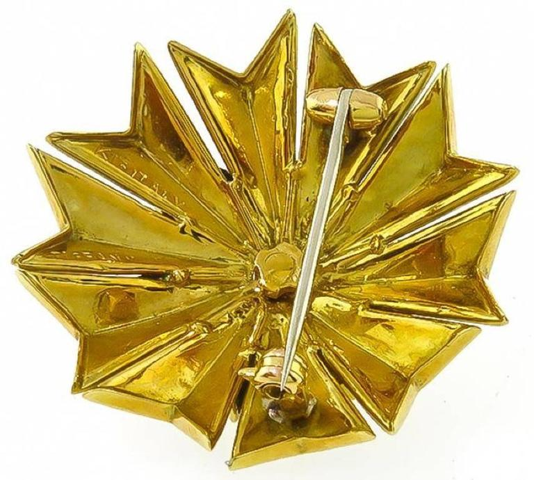 Tiffany & Co. Cabochon  Sapphire Enamel Gold Pin 4