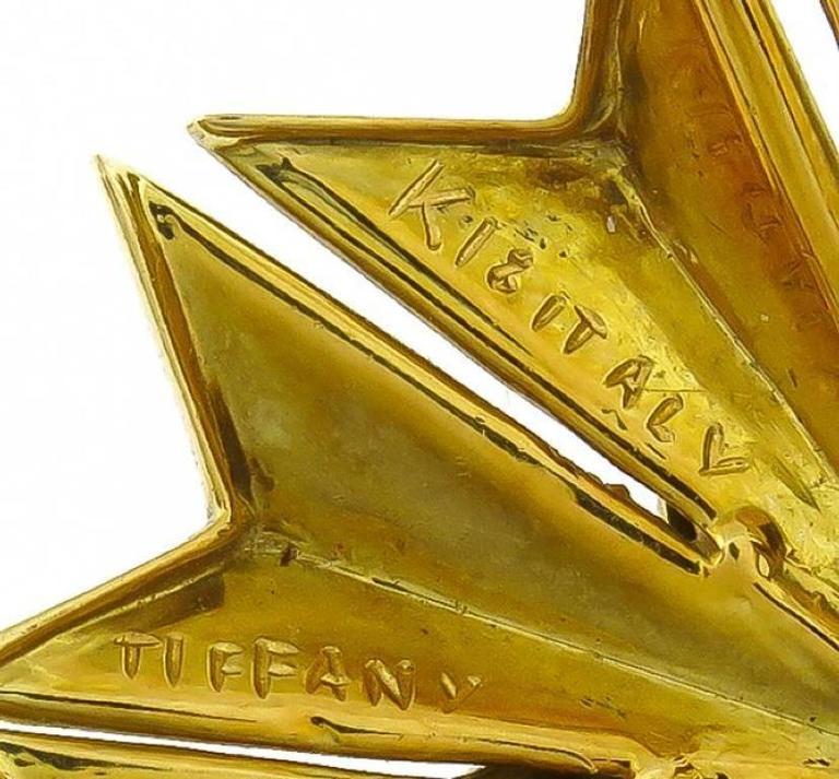Tiffany & Co. Cabochon  Sapphire Enamel Gold Pin 2