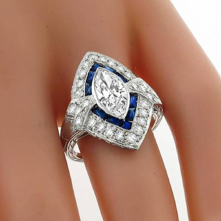 1 18 Carat Marquise Cut Diamond Sapphire Ring For Sale At