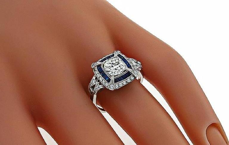 Art Deco 1.27ct. Cushion Cut Diamond Sapphire Ring 2