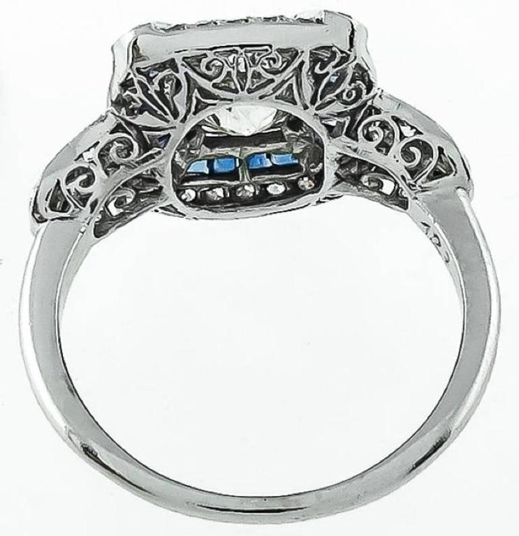 Art Deco 1.27ct. Cushion Cut Diamond Sapphire Ring 4