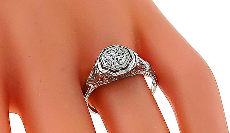 Edwardian Old Mine Cut Diamond White Gold Engagement Ring 4