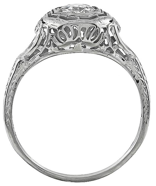 Edwardian Old Mine Cut Diamond White Gold Engagement Ring 3