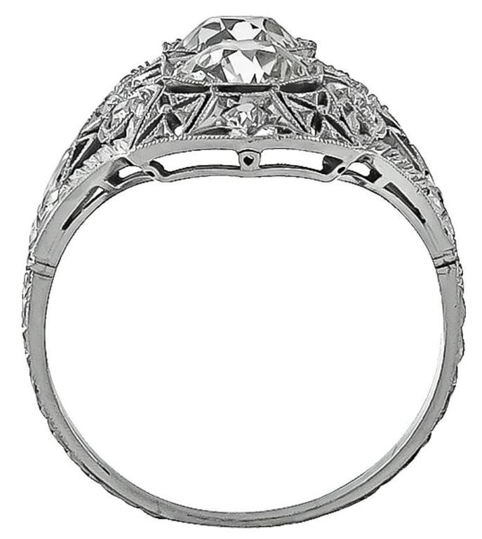 Early 20th Century Double Diamond Platinum Ring In New Condition For Sale In New York, NY