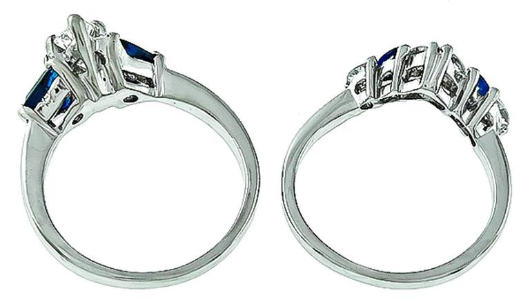 GIA Cert 1.08 Carat Sapphire Diamond Engagement Ring and Wedding Band Set 4