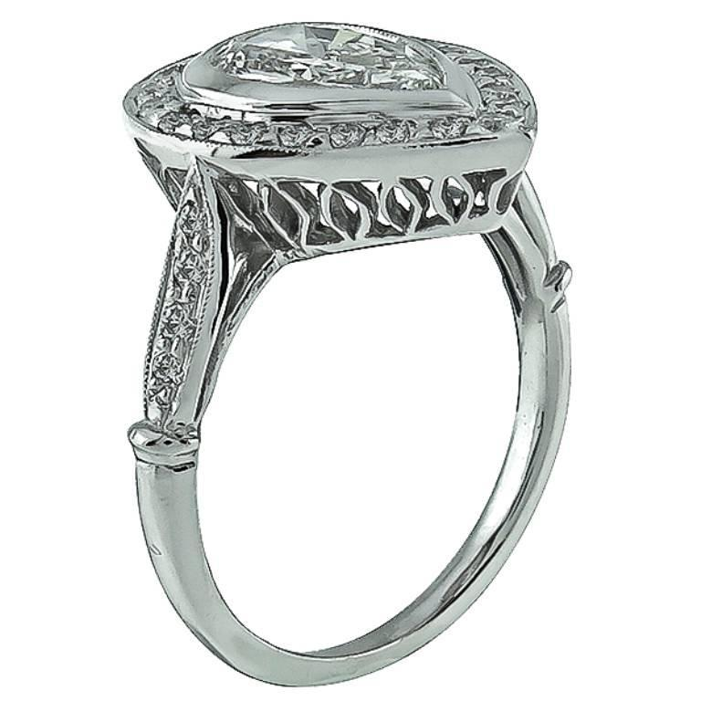 Art Deco 1.08 Carat GIA Cert Pear Shape Diamond Platinum Halo Engagement Ring For Sale