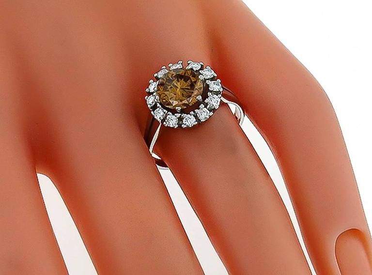 2.20 Carat Natural Fancy Colored Diamond  Cluster Ring 2