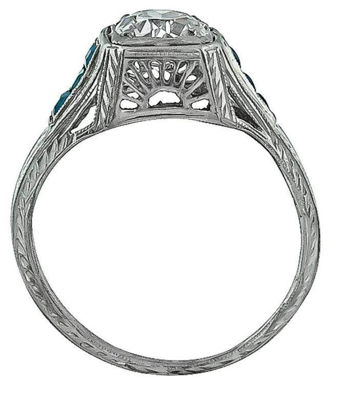 Art Deco Antique GIA Cert 0.84 Carat Diamond Platinum Engagement Ring For Sale