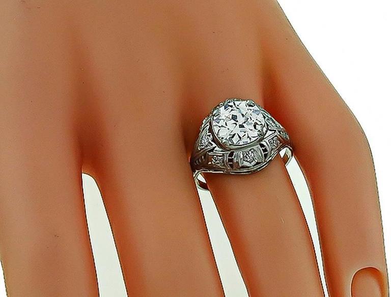 Art Deco Antique 2.54 Carat Old Mine Cut Diamond Platinum Engagement Ring For Sale