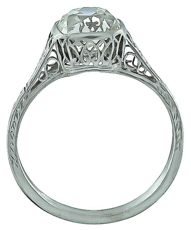 Edwardian 2.09 Carat Old Mine Brilliant Diamond Platinum Engagement Ring