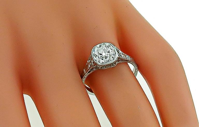 2.09 Carat Old Mine Brilliant Diamond Platinum Engagement Ring In Excellent Condition In New York, NY