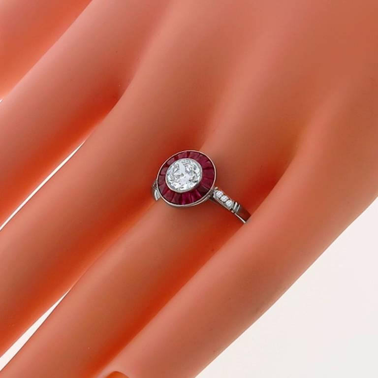 c10289ad95efd Charming .59 Carat GIA Cert Diamond Ruby Halo Engagement Ring