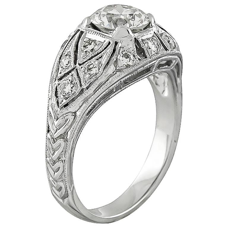 GIA Cert 1.10ct Diamond Gold Engagement Ring 2
