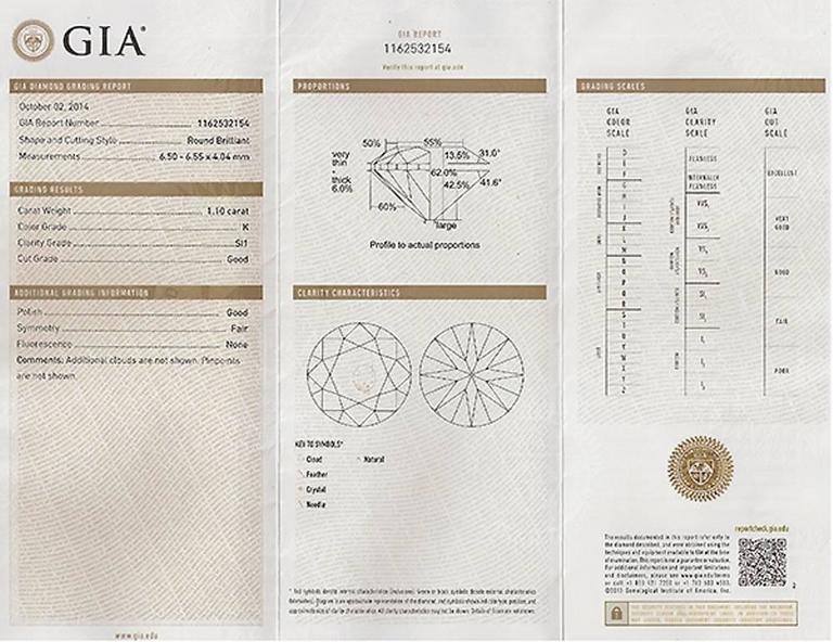 GIA Cert 1.10ct Diamond Gold Engagement Ring 4