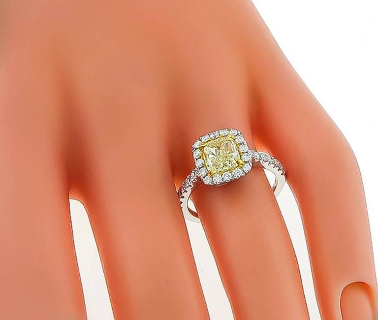 Round Cut 1.59 Carat Natural Fancy Yellow Diamond Gold Engagement Ring For Sale
