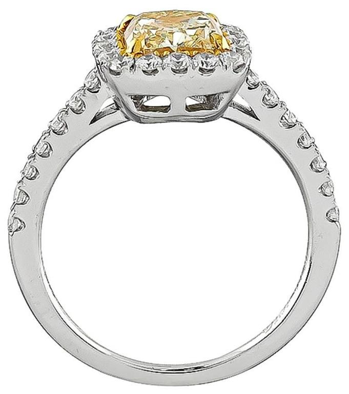 1.59 Carat Natural Fancy Yellow Diamond Gold Engagement Ring In Excellent Condition For Sale In New York, NY