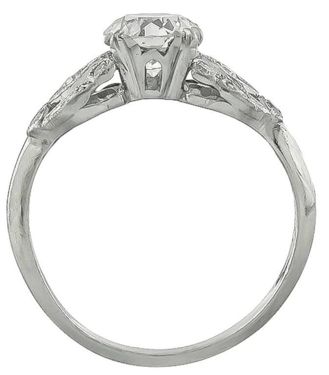 Art Deco  GIA 1 Carat Diamond Platinum Engagement Ring For Sale
