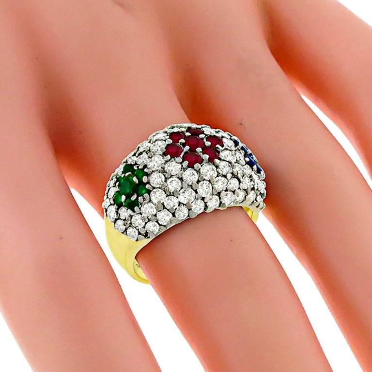 Diamond Ruby Emerald Sapphire Gold Cluster Ring 2
