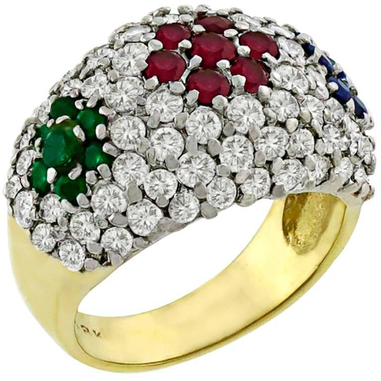 Diamond Ruby Emerald Sapphire Gold Cluster Ring 3
