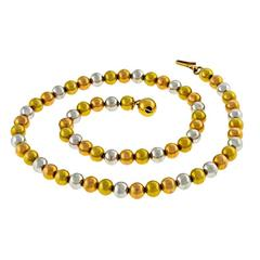 Charming Tri Color Gold Bead Necklace