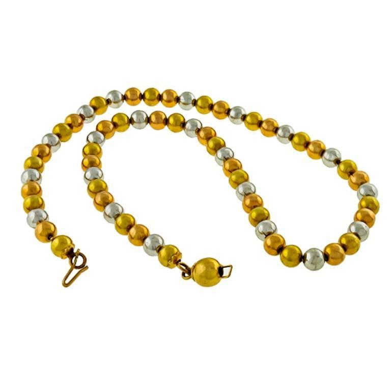 Charming Tri Color Gold Bead Necklace In Excellent Condition For Sale In New York, NY