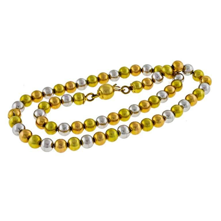 Women's or Men's Charming Tri Color Gold Bead Necklace For Sale