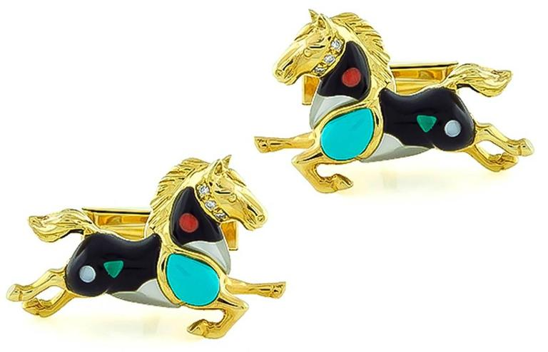 Women's or Men's Asch Grossbardt Yellow Gold Horse Cufflinks For Sale