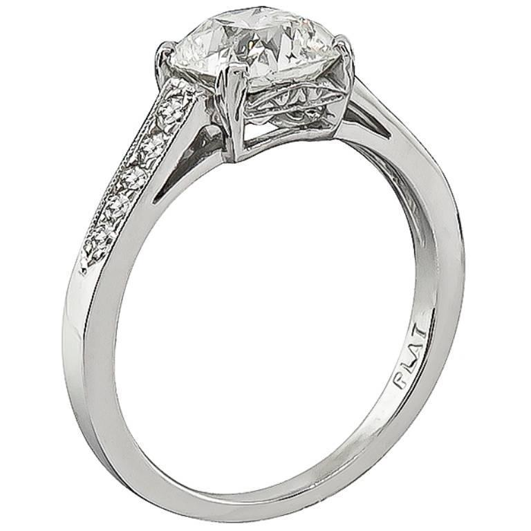 1 55 Carat Cushion Cut Diamond Platinum Engagement Ring For Sale at 1stdibs