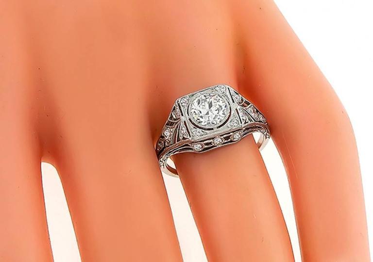 Women's or Men's GIA 0.81 Carat Diamond Black Starr & Frost Engagement Ring For Sale
