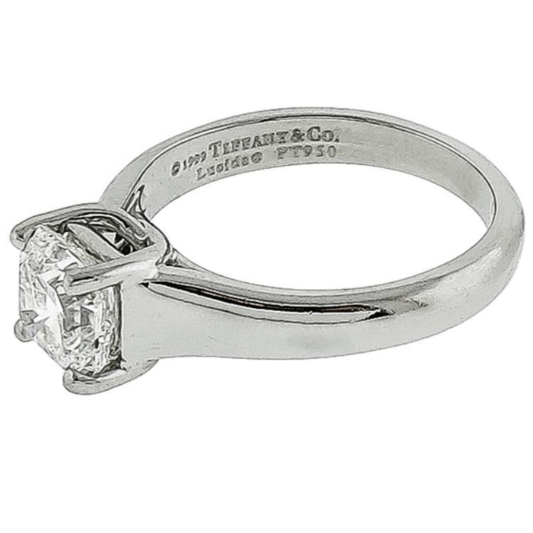 This Beautiful Platinum Enement Ring From The Tiffany Co Collection Is Centered