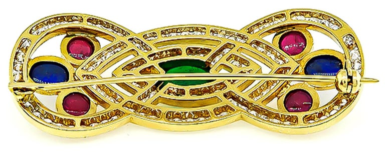 Emerald Sapphire Ruby Diamond Gold Pin In Excellent Condition For Sale In New York, NY