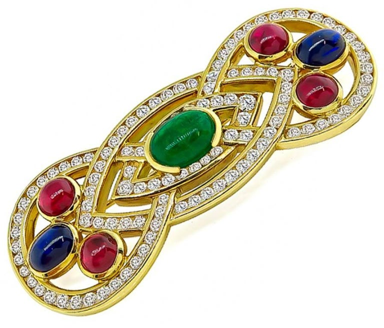Women's or Men's Emerald Sapphire Ruby Diamond Gold Pin For Sale