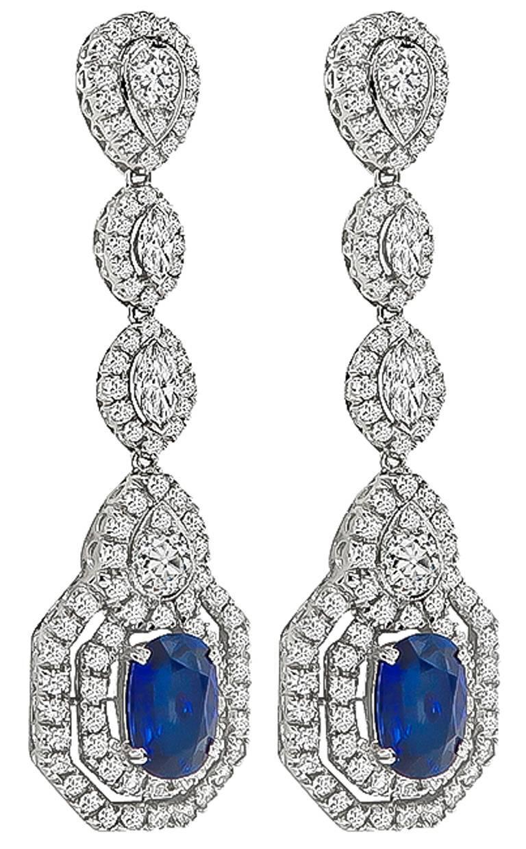 Women's or Men's Amazing Sapphire Diamond Gold Drop Earrings For Sale