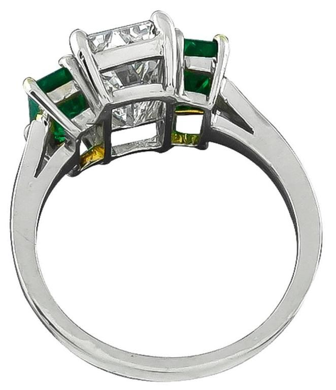 2.27 Carat Emerald Cut Diamond Emerald Platinum Engagement Ring In Excellent Condition For Sale In New York, NY