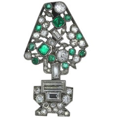 Cartier Art Deco Diamond Emerald Jabot Pin