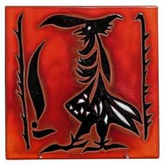 Rare Tile with Anthropomorphic Bird by Jean Lurçat