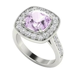 StyleRocks Cushion Cut Pink Amethyst Diamond Halo White Gold Ring