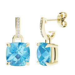 StyleRocks Blue Topaz Diamond Gold Drop Earrings
