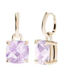 StyleRocks Pink Amethyst Rose Gold Drop Earrings