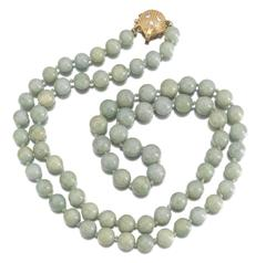 Jade Beaded Diamond Shell Clasp Strand Necklace