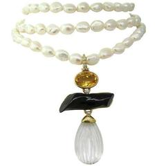 Andrew Clunn Triple Strand Pearl Necklace Citrine Diamond Gold Enhancer