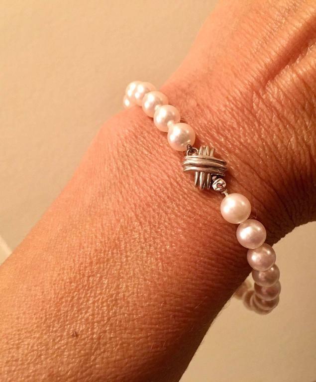 e3ba880c0 Stunning White Gold Signature X Akoya Cultured Pearl Bracelet For Sale.  Stunning 18k white gold Tiffany & Co. high grade cultured pearl bracelet,  set