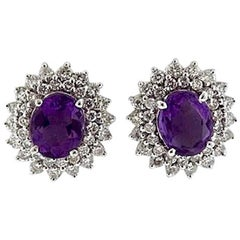 Stunning Estate 4.80 Carat Diamond Halo and Amethyst Pierced Stud Earrings