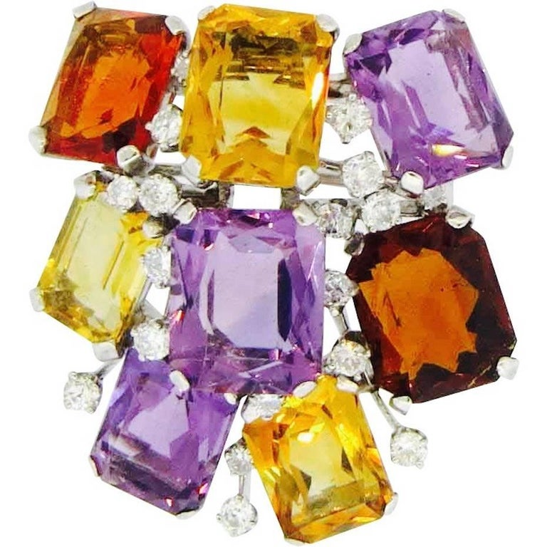 1950s Platinum Diamond Citrine Amethyst Gemstone Brooch Pendant for Necklace